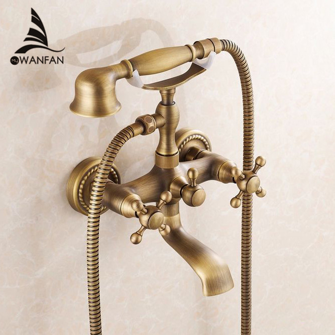 Luxury NEW Antique Brass Rainfall Shower Set Faucet + Tub Mixer Tap + Handheld Shower Wall Mounted 6762F Free shipping flg free shipping bamboo antique brass rainfall bamboo shower faucet set bath tub mixer tap single handle shower wall mounted