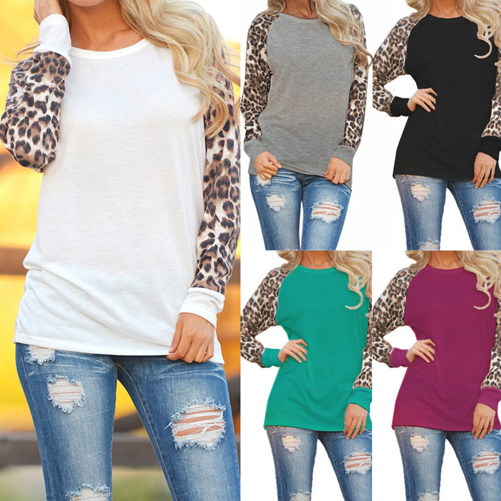 Fashion Women Long Sleeve Leopard Print Blouse Oversize Tops Shirts Blouses Top Clothing Ladies Ropa De Mujer 2019
