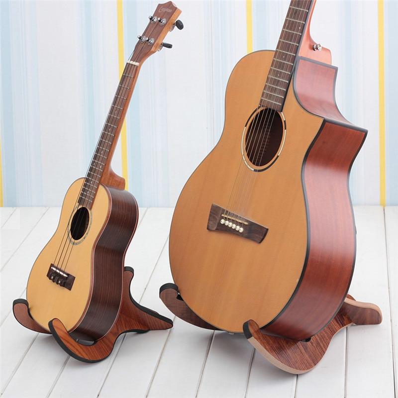 Longteam eléctrica Guitarra acústica Bass Ukulele de soporte de madera Guitarra accesorios soporte cuerdas musicales instrumento parte