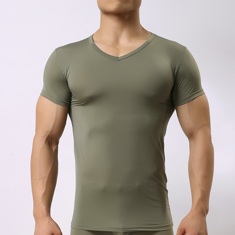 Man Spandex Undershirts/Male Sexy Ice Silk Mesh Bodysuit Basic T Shirts/Woxuan Brand Gay Nylon Transparent Tops Underwear