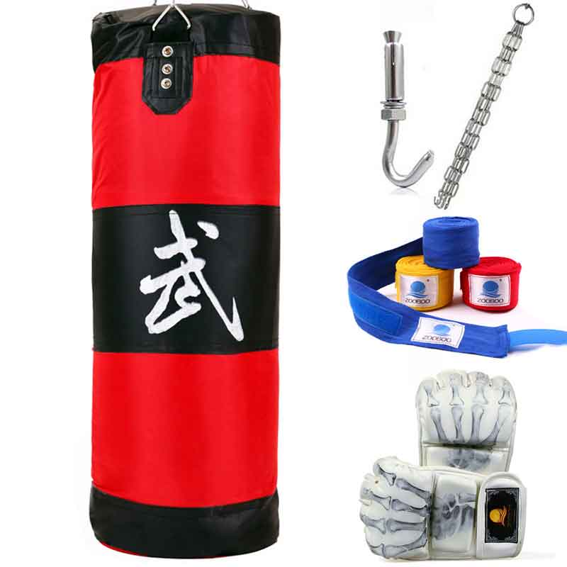 90cm Boxing Punching Bag Fitness Sandbags Striking Drop Hollow Empty Sand Bag with Chain Martial Art Training Punch Target