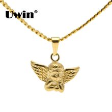 Uwin Tiny Angel Baby Necklace Charm Gold Color Cuban Chain Stainless Steel Fashion Jewelry Birthday Gifts Women/Men Pendants(China)