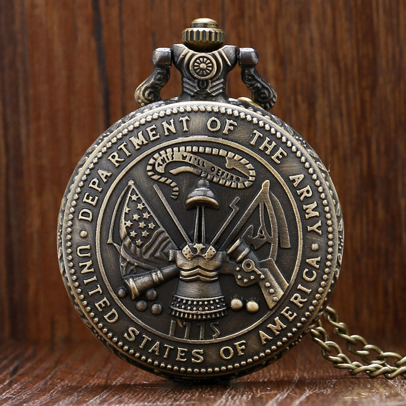 United States Department Of The Army Theme 3D Design Bronze Quartz Pocket Watch With Necklace Chain Gift To Men Women