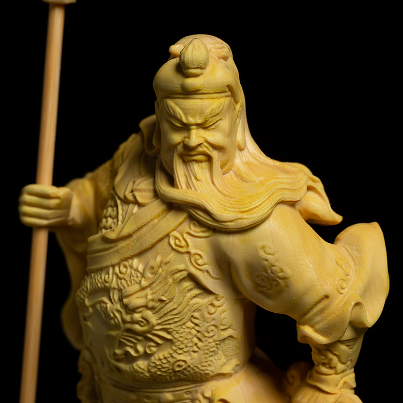 Solid Wooden Guan Yu Lucky Fortune Statue 3