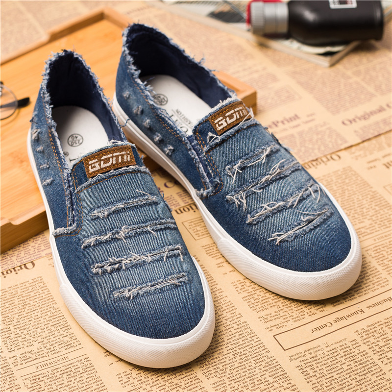 New Spring Summer Men Shoes 2019 Fashion Breathable Denim Shoes Slip On Mens Casual Shoes High Quality Male Brand Loafers