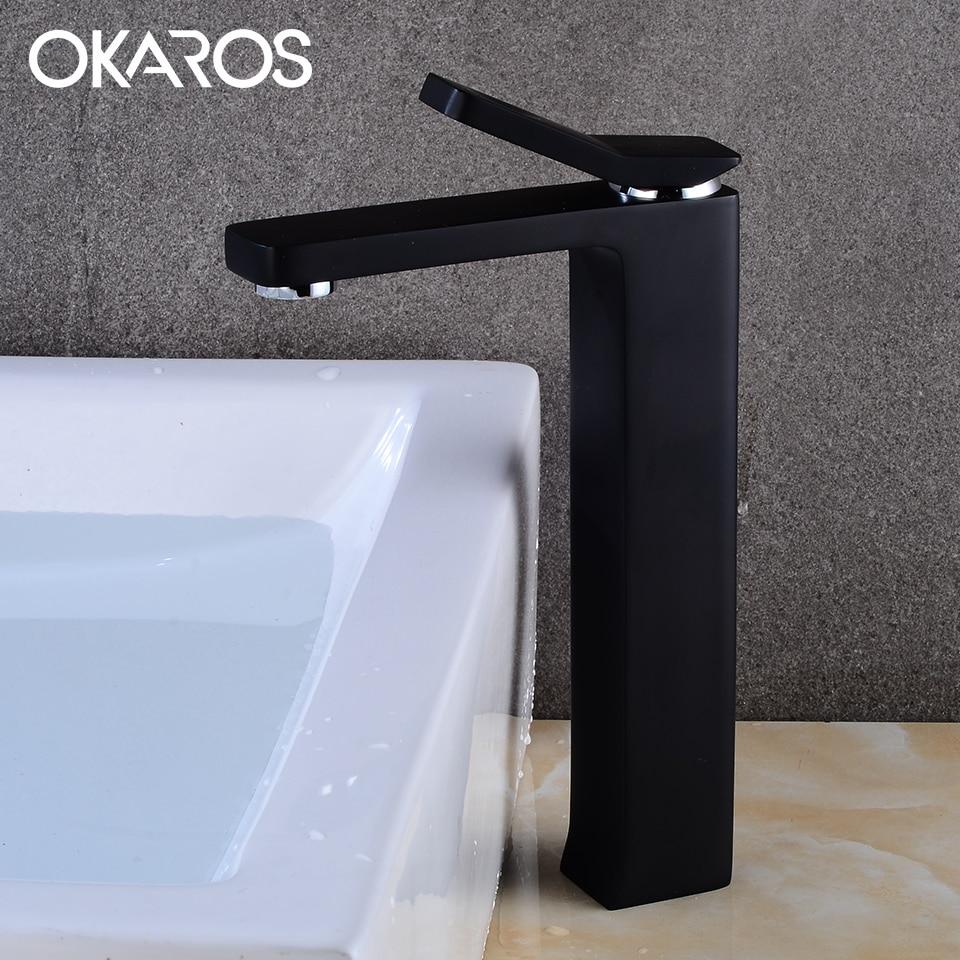 OKAROSTall Pure Black Basin Faucet Bathroom Faucet Solid Brass Lavatory  Water Sink Tap Mixer torneira do banheiro M074-B