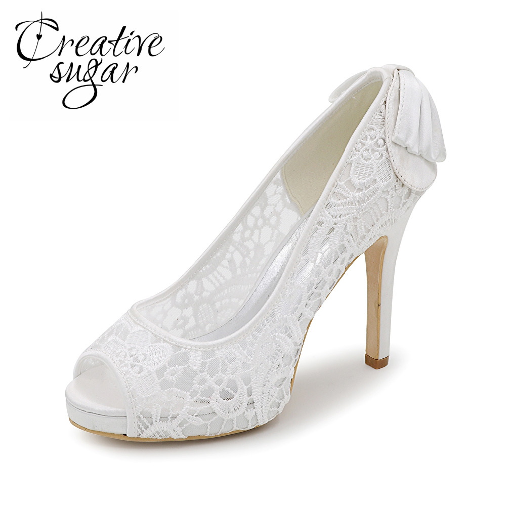 Creativesugar See through lace woman high heels pink black white ivory mesh dress shoes party wedding pumps open toe with bow sweet girls pink rhinestone and ivory pearls diamond wedding high heels shoes graduation ceremony party pumps drop shipment