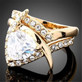 ( 2 Piece / Set) Fashion Lovers Rings Set Gold Plated Big AAA Cubic Zirconia Austrian Crystal Engagement Rings For Women Men