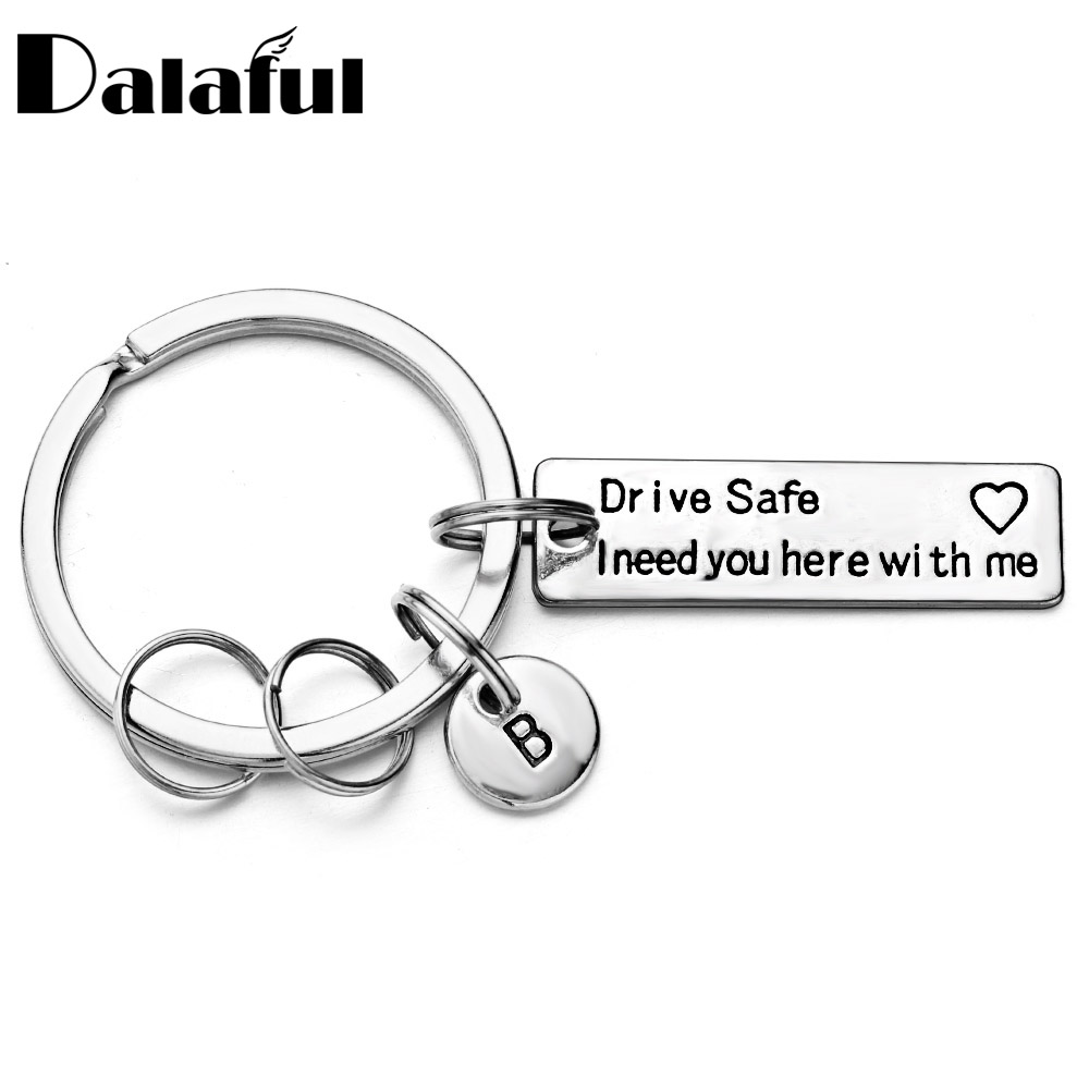 Drive Safe Keychain Engraved Lettering A-Z Letters Personalized Custom Keyring Couples Lover Husband Boyfriend Gift For Car P013