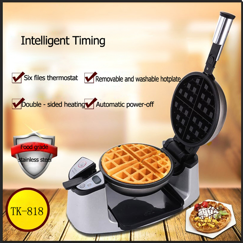 1PC Non-stick coating TK-818 double side heating Electric Rotary Egg Waffle Maker Pancake Maker waffle machine