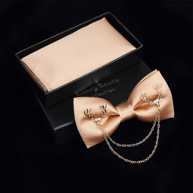 JEMYGINS Original Metal veado de Ouro Duas Camadas Neck Bowtie Sólidos Bow Tie Moda masculina Ajustável Bowtie Bolso Sqaure Caixa conjunto