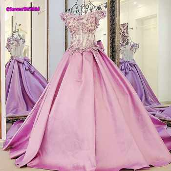 CloverBridal peals flowers satin pink wedding dress 2018 ball gown with big bow-tie at back illusion boned bodice - DISCOUNT ITEM  0% OFF All Category