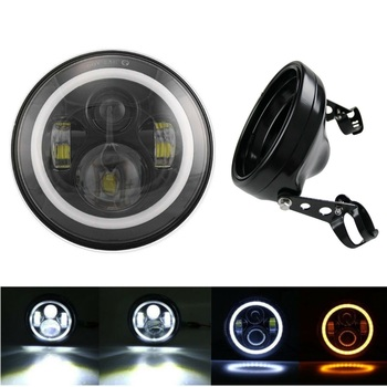 7inch Round LED Headlight with High Low Beam for Sportster XL883 XL1200 and 7Inch Black Headlights Housing Bucket