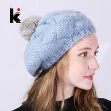 Winter Women's Berets Real Rabbit Fur PomPom Knitted Wool Hat Ladies Autumn Flat Caps Female Beret Hats For Women Boina Feminina