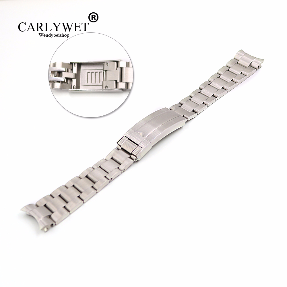 CARLYWET 20mm Silver Stainless Steel Solid Curved End Screw Links Glide Lock Clasp Watch Band Bracelet For Submariner GMT
