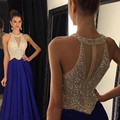 Free Shipping Royal Blue Halter Prom Dresses Sheer Rhinestone Long Sexy Prom Dress With Crystal A-line Prom Evening Party Gowns