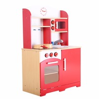 Goplus RU Kids Kitchen Play Set Modern Wood Pretend Toy Cooking Set Children Cabinet Toddler Cook