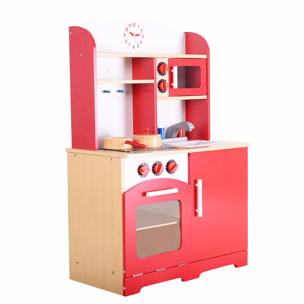 Goplus RU Kids Kitchen Play Set Modern  Wood Pretend Toy Cooking Set Children Cabinet Toddler Cook Playset Baby Gifts TY322392 цена и фото