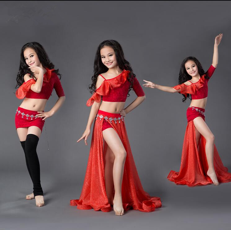 Children 3 Piece Belly Dance Costume Shine Long Skirt Lotus Top Girl Dance Performance Show Wear
