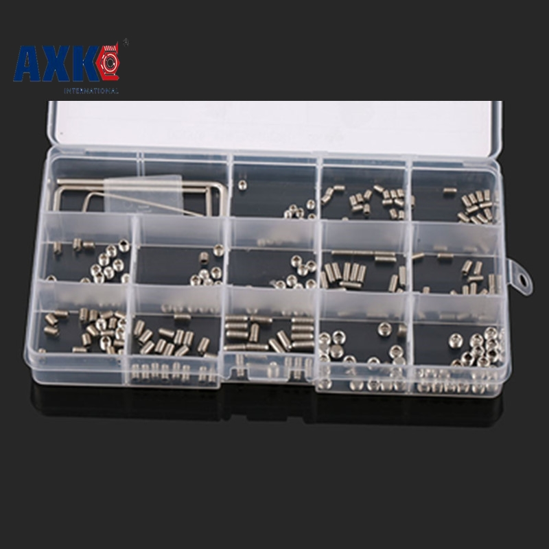 200pcs/set 240pcs 510pcs Screws Allen Head Socket Hex Set Grub Screw Assortment Cup Point parafuso Assortment Set 200pcs 304ss m3 m4 m5 m6 cone point allen head hex socket screws assortment kit