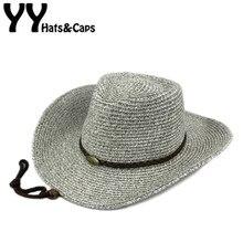 62bcd55196 Sombrero de paja de verano hombres Western cowboy CAPS mujeres Sol sombreros  hombre paja Sombreros de