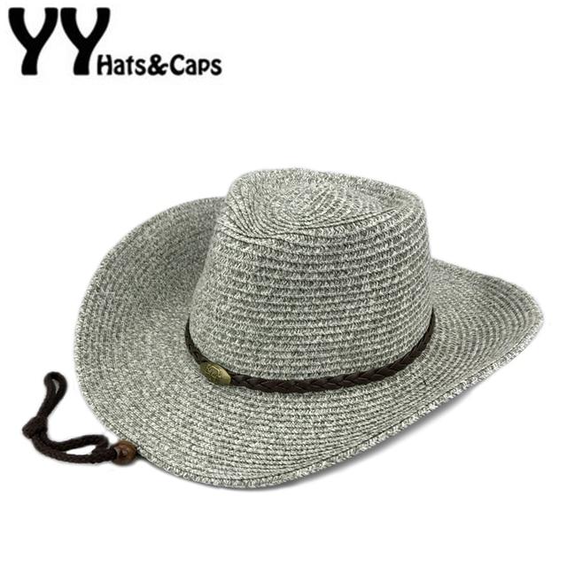 Summer Straw Hat Men Western Cowboy Caps Women Sunhats Man Straw Beach Caps  Classic Sun Hats For Couple Sombreros Vaquero YY7092 43028730f4f