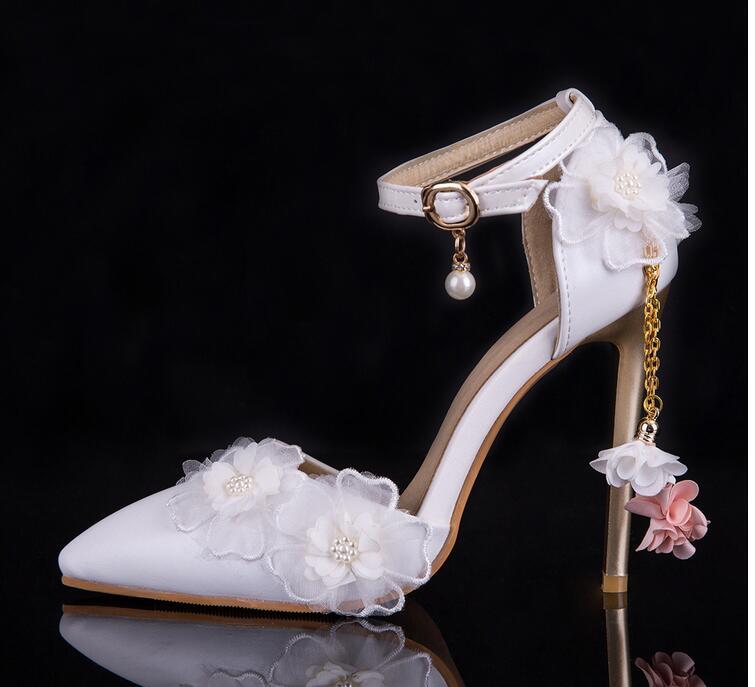 2019 nuevo encaje de zapatos de moda para mujer zapatos de boda de flores de novia zapatos de señoras vestido de fiesta zapato-in Sandalias de mujer from zapatos    1