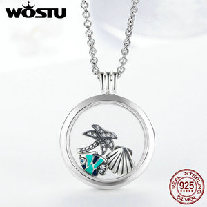 Image 2 - Hot Sale 100% 925 Sterling Silver Floating Medium Pendant Necklaces Fit 7 Style Petite Charms For Women DIY Jewelry CRF001