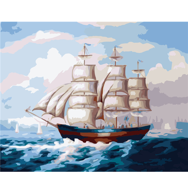 Cuadro sin marco Paisaje velero Pintura Por Números de Decoración de ...