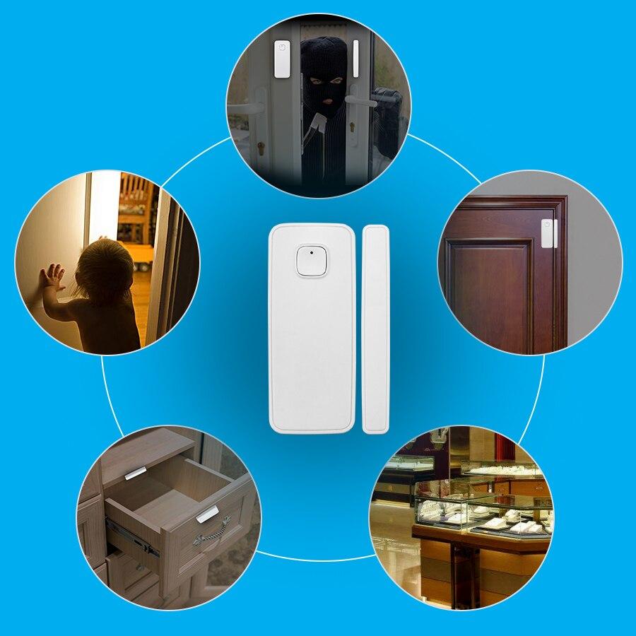 Fuers Wireless WiFi Door Window Sensor Detector Smart Life Home Security Door Alarm System Amazon Alexa Compatible App Control