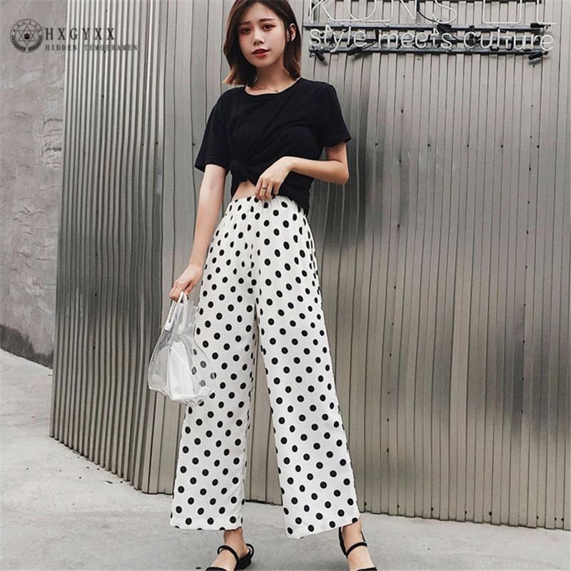 Korean Women Polka Dot Chiffon Pants Wide Leg Pants Nine Points Loose Pants High Waist Drape Straight Summer Female Pants W003