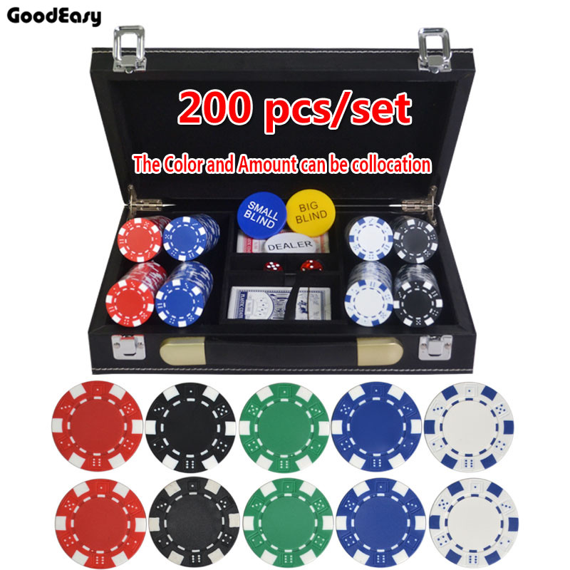 5 colors 115gpcs abs poker chips coins texas holdu0027em poker games poker chip sets leather suitcase - Poker Sets