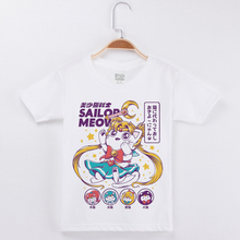 Hot Sale Girls Tshirt White T Shirt Sailor Moon Cotton Tees Child Fashion Basic Tshirts Cat Printing Kids T-Shirt Popular Tops