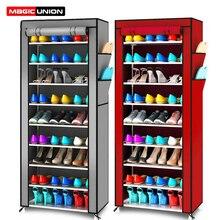 União mágica simples multifuncional armazenamento sapato rack oxford dustproof sapatos de armazenamento gabinete 10 camadas 9 grades sapatos prateleira