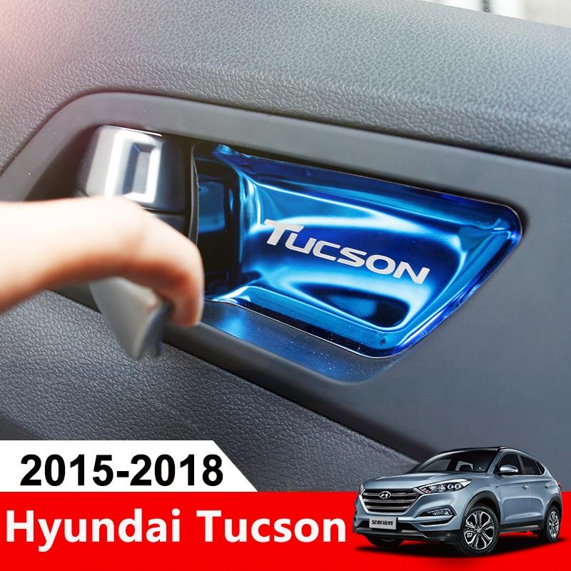 Acier inoxydable voiture intérieur porte bol autocollant garniture intérieur moulage couverture pour Hyundai Tucson 2015 2016 2017 2018 2019 accessoires