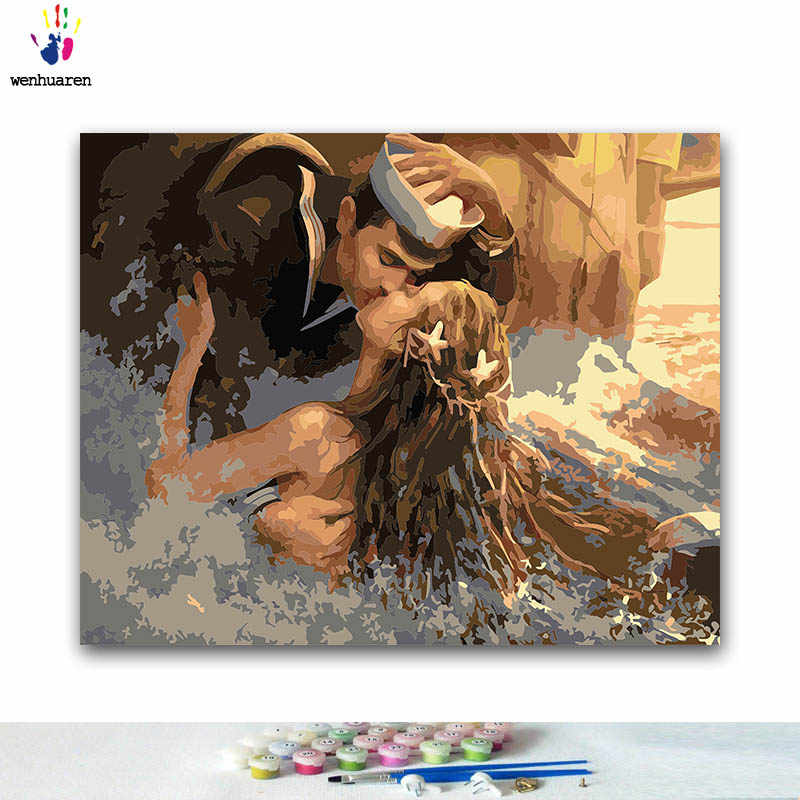 DIY Coloring paint by numbers Embracing men and women paintings by numbers with kits 40x50 framed