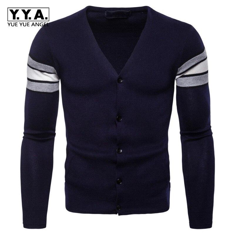 2019 nouvelle mode col en V Cardigans décontracté casual gilets simple boutonnage vêtements Outwear confort chandails tricotés pour hommes Slim Fit manteaux