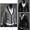 2014 New Korean Men's Casual Slim Fitting Design Stylish V-neck Cardigans Knitwear Sweaters Dropshipping 31