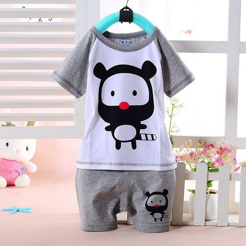 Bavlněné dětské chlapci Dívky nosí dětské oblečení Sada dětské oblečení Kreslený tisk Tričko s krátkým rukávem + Kalhoty Dětský letní sportovní oblek