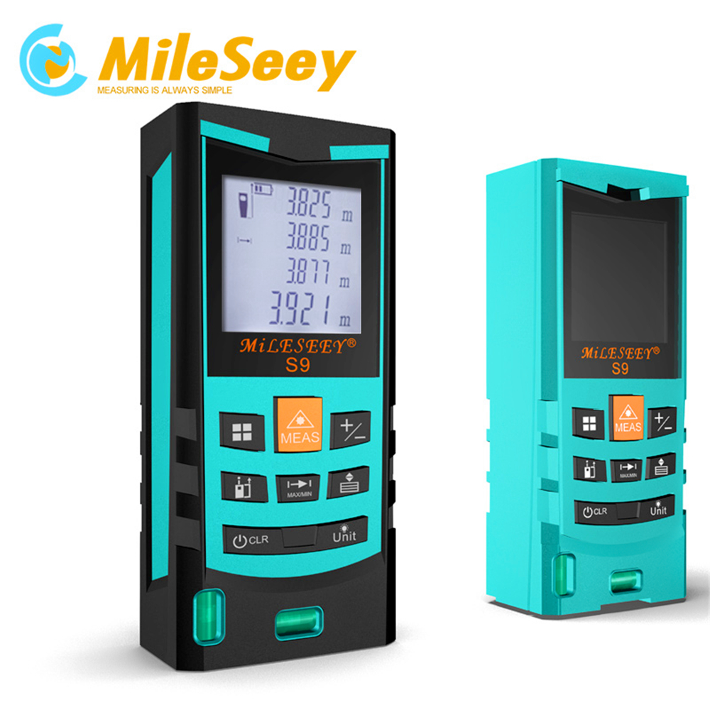 Laser Distance Meter Diastimeter Mileseey S9 100M Laser Rangefinder Measure Blue with Level Bubble drill buddy cordless dust collector with laser level and bubble vial diy tool new