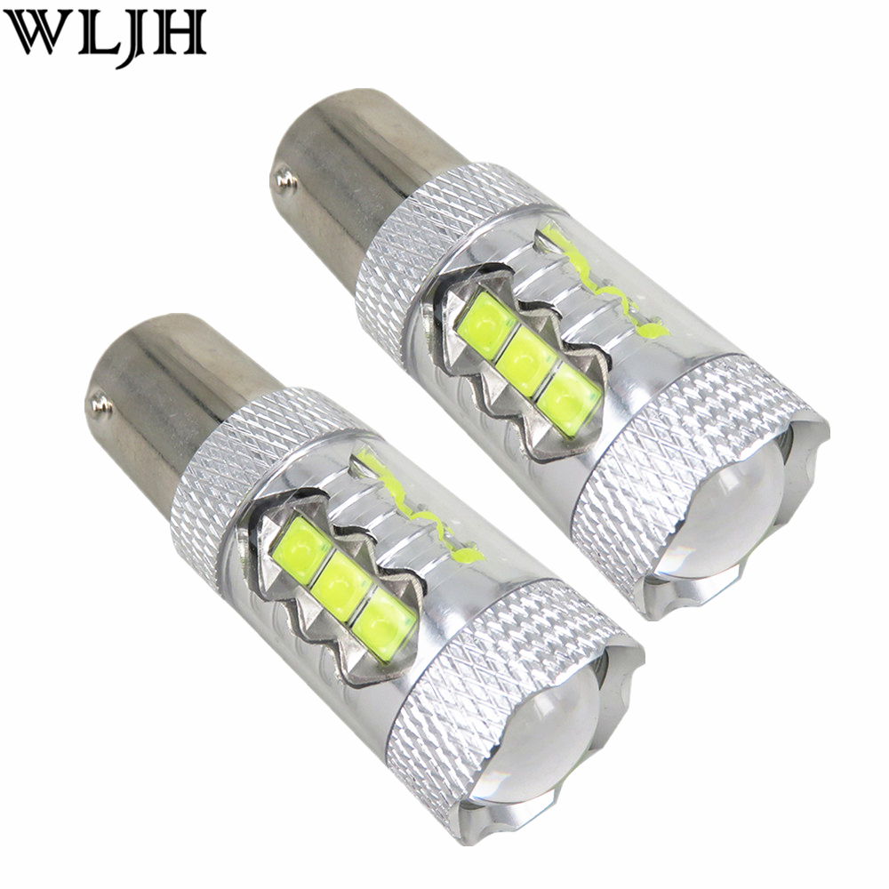 Wljh 2x 12v 24v 3014 Chip Led Ba15s 1156 S25 P21w Car Drl 7506 7527 Light Bulb Wire Wiring Harness Socket 1200lm Daytime Running For