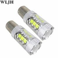 WLJH 2x 1200lm LED 1156 7506 P21W BA15S S25 Car DRL Daytime Running Light Bulb For