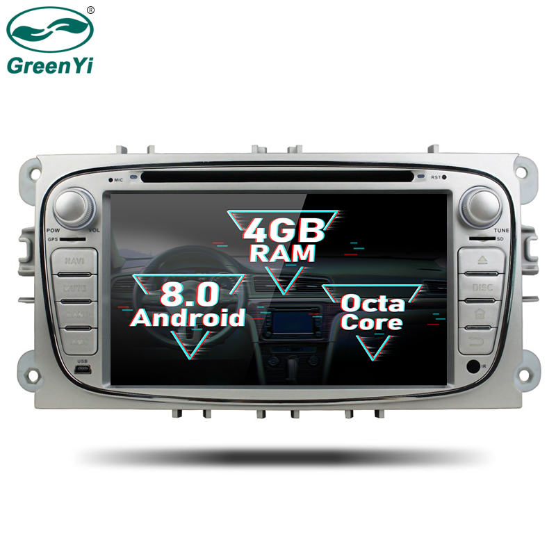 GreenYi 2 Din Android 8.0 Octa Core Car DVD Player GPS Navi for Ford Focus Mondeo Galaxy with Audio Radio Stereo Head Unit android 6 0 1 octa core capacitive car pc dvd radio gps for ford focus fusion explorer expedition f150 f500 escape edge mustang