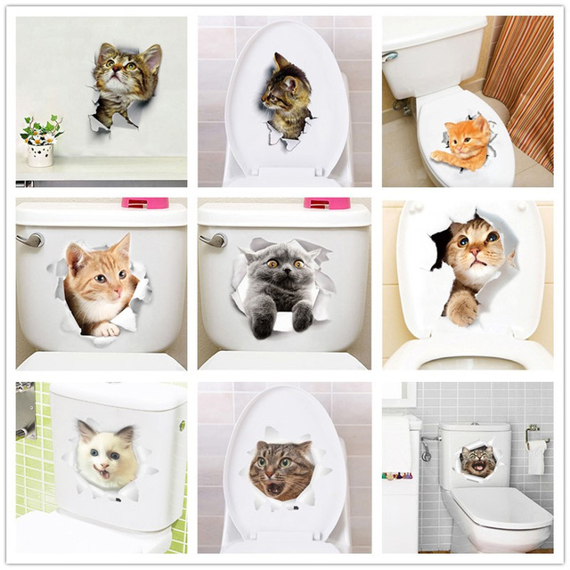 Cute Cat Toilet Stickers 8