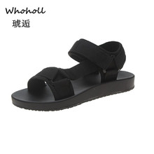 Whoholl Brand Summer Sandals Women Flat Shoes Peep-toe Sandalias Roman Sandals Woman Casual Shoes Ladies Flip Flops Footwear 7.5 peep toe flat buckle shoes bohemia flip flop beach beads sandals flat wedges shoes lovely footwear foot toes comfortable to wear