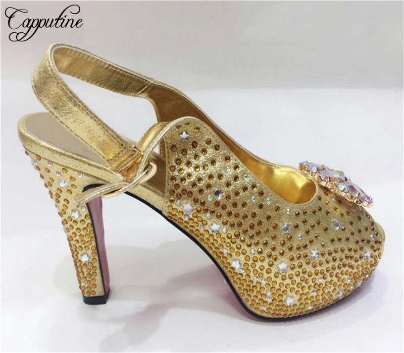 Capputine Latest African Style High Heels Shoes Italian Summer Women Party Pumps Shoe On Sale Free Shipping 8Colors TX-661