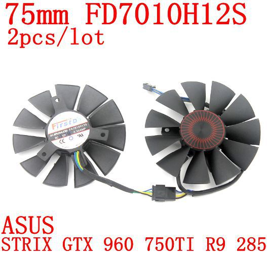 Free shipping 2pcs/lot FD7010H12S 75mm DC12V 0.35A  40x40x40mm for ASUS STRIX GTX 960 750TI R9 285 graphics card fan free shipping 2pcs lot pld08010s12hh dc 12v 0 35a 75mm dual fans replacement video card fan msi twin frozr iii 4pin