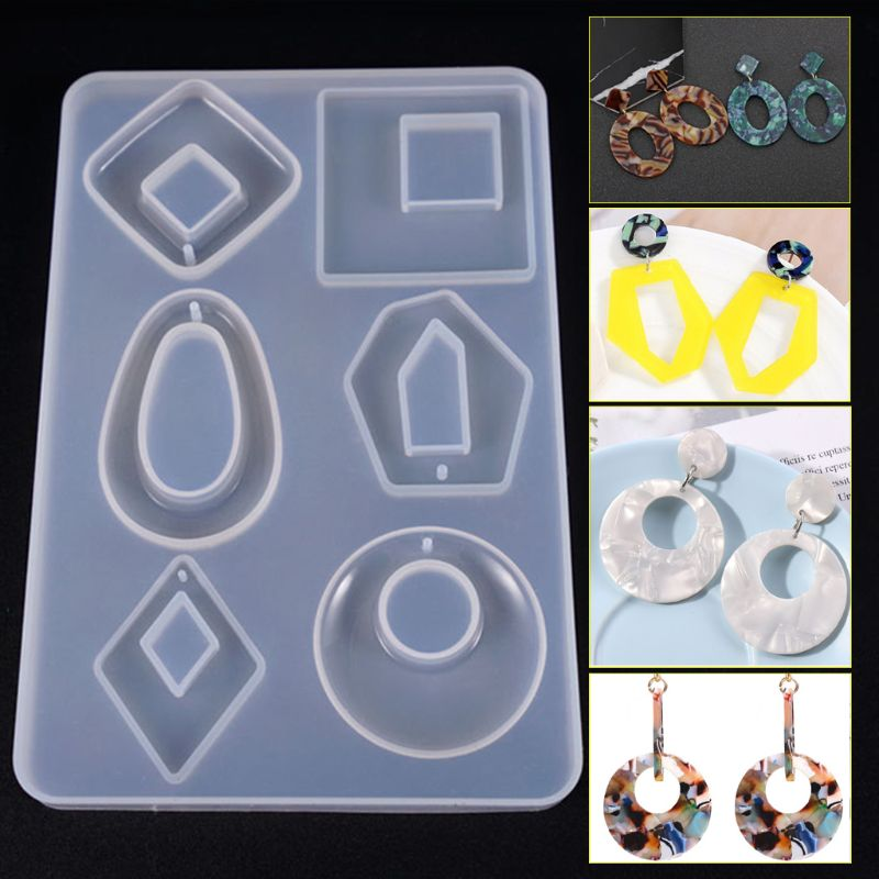 1pc Silicone Acrylic Earring Necklace Pendant Mold Resin Casting Mold Jewelry Making