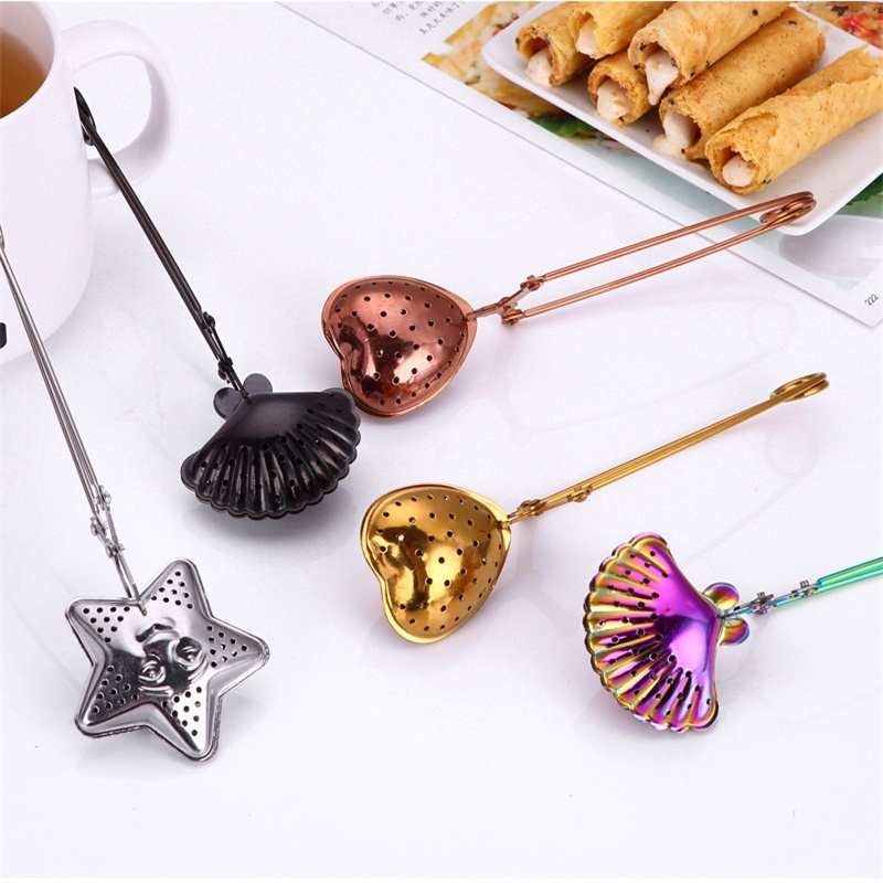 3 Colorful Stainless Steel Tea Strainer Heart Shape Tea Spoon Seasoning Infuser Star Shell Strainer Teaware Party Wedding Favors