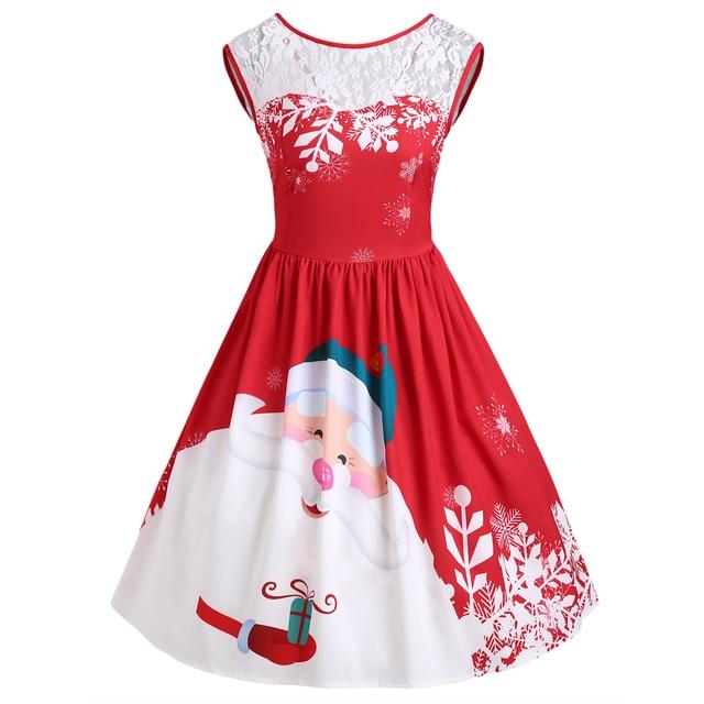 ZAFUL Lace Insert Santa Claus Print Vintage Dresses New Women